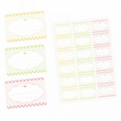 72 Blanko Etiketten Vichy Karo - pastell gelb grün rosa - 64 x 45 mm