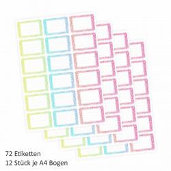 72 Blanko Etiketten Aquarell Floral - gelb grün blau rot rosa - 64 x 45 mm