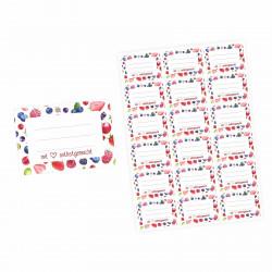72 Blanko Etiketten Früchte - mit Liebe selbstgemacht - 64 x 45 mm