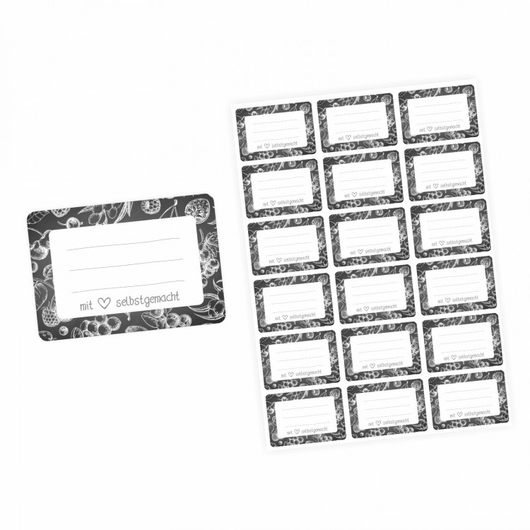 72 Blanko Etiketten Tafel Kreide Früchte - 64 x 45 mm