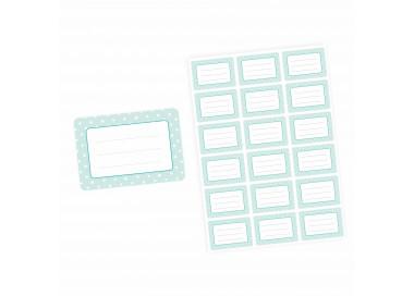 72 Blanko Etiketten mint Punkte Retro - 64 x 45 mm