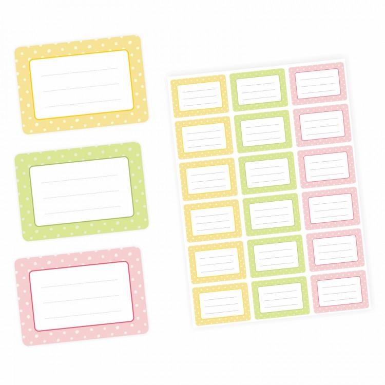 72 Blanko Etiketten Punkte Retro Pastell - gelb grün rosa - 64 x 45 mm