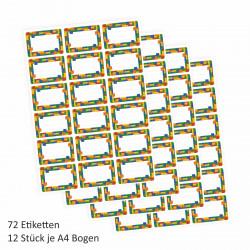 72 Blanko Etiketten Bausteine bunt - 64 x 45 mm - Namensetiketten