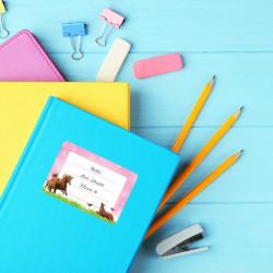 72 Blanko Etiketten Pferde Rosa Pink - 64 x 45 mm - Namensetiketten Mädchen