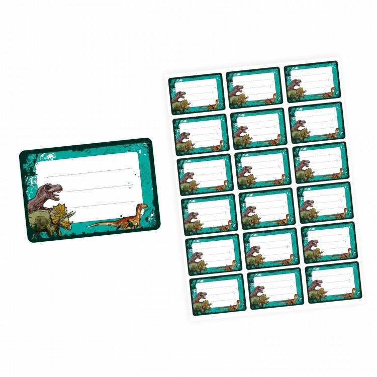 72 Blanko Etiketten Dinosaurier T-Rex grün schwarz - 64 x 45 mm - Namensetiketten Junge