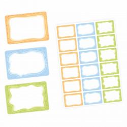 72 Blanko Etiketten bunt orange blau grün - 64 x 45 mm - Namensetiketten Junge Mädchen