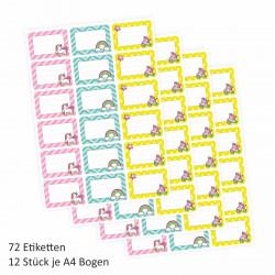 72 Blanko Etiketten Retro Einhorn Regenbogen und Rollschuh - 64 x 45 mm - Namensetiketten Mädchen