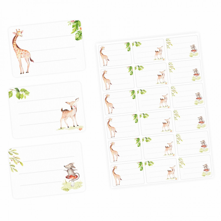72 Blanko Etiketten Tiere Giraffe Reh und Maus - 64 x 45 mm - Namensetiketten Mädchen