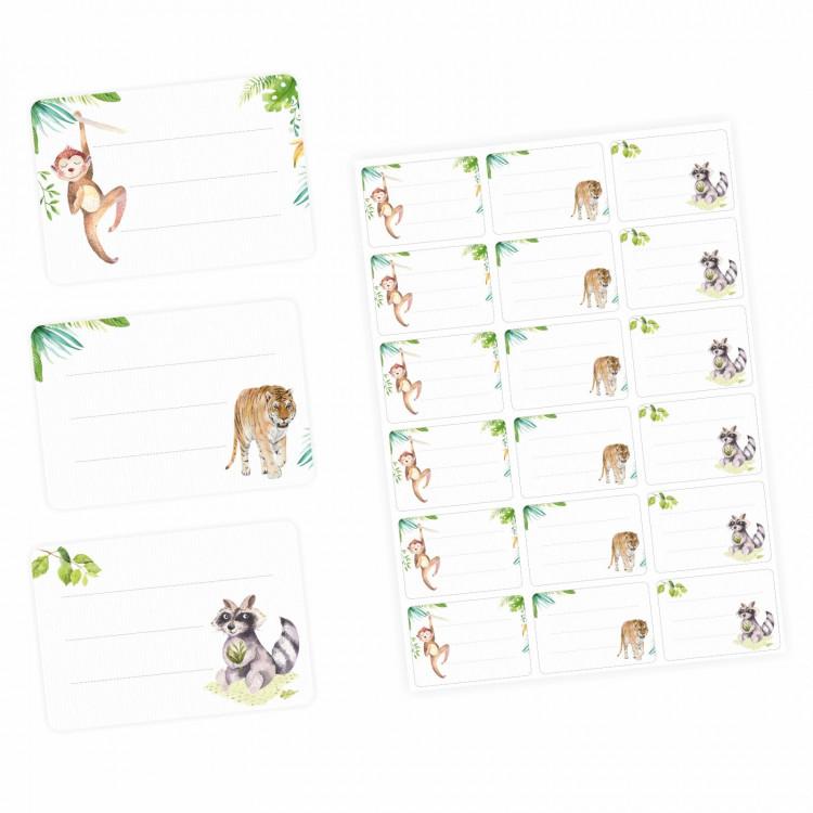 72 Blanko Etiketten Tiere Affe, Tiger und Waschbär - 64 x 45 mm - Namensetiketten Junge