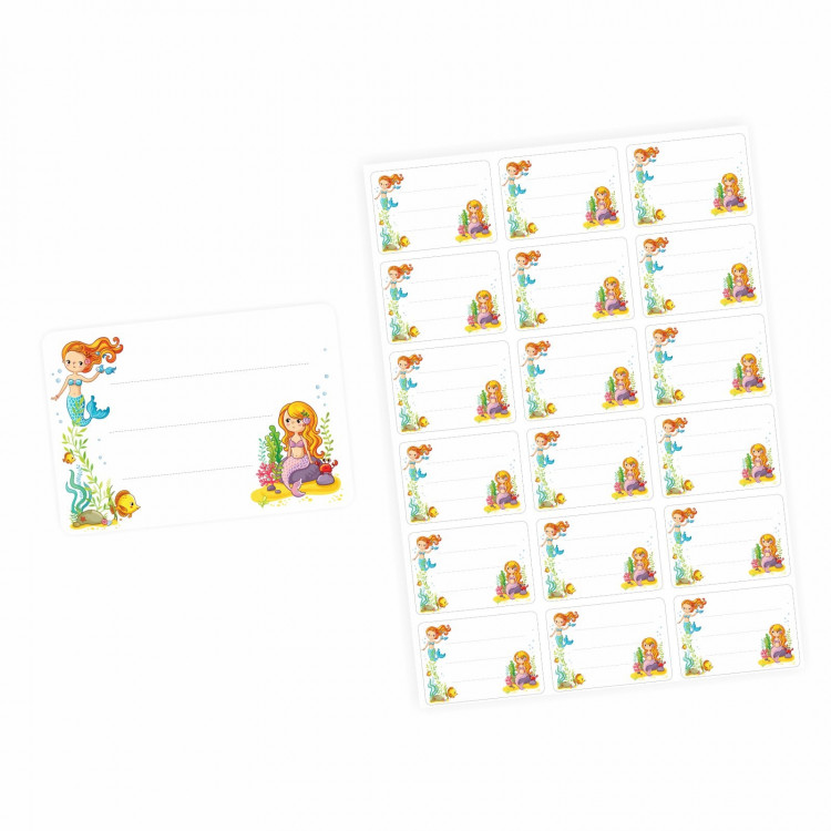 72 Blanko Etiketten Meerjungfrauen - 64 x 45 mm - Namensetiketten Mädchen