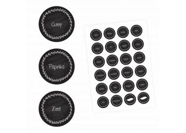 24 Gewürzetiketten - schwarz/weiß - 22 beschriftet 2 blanko - rund 4 cm Ø - Küchen Aufkleber Sticker