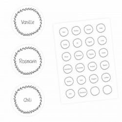 24 Gewürzetiketten - weiß/schwarz - 22 beschriftet 2 blanko - rund 4 cm Ø - Küchen Aufkleber Sticker