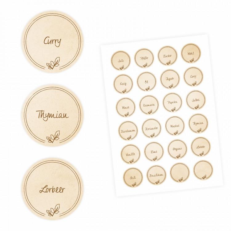 24 Gewürzetiketten - hellbraun - 22 beschriftet 2 blanko - rund 4 cm Ø - Küchen Aufkleber Sticker