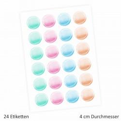 24 Universaletiketten - Aquarell pastell - rund 4 cm Ø - Haushaltsetiketten Sticker Aufkleber