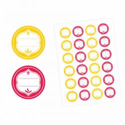 24 Universaletiketten - gelb & rot - rund 4 cm Ø - Haushaltsetiketten Sticker Aufkleber