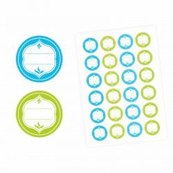 24 Universaletiketten - blau & grün - rund 4 cm Ø - Haushaltsetiketten Sticker Aufkleber