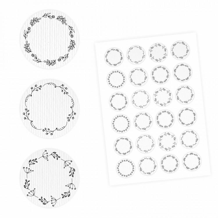 24 Universaletiketten - Blumenranke weiß - rund 4 cm Ø - Haushaltsetiketten Sticker Aufkleber
