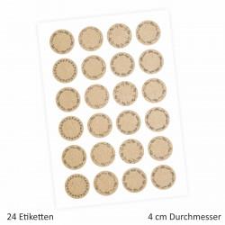 24 Universaletiketten - Kraftpapieroptik - rund 4 cm Ø - Haushaltsetiketten Sticker Aufkleber