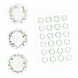 24 Universaletiketten - Blumenranke grün - rund 4 cm Ø - Haushaltsetiketten Sticker Aufkleber
