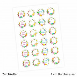 24 Oster Aufkleber Ranken - rund 4 cm Ø - Frohe Ostern Sticker Aufkleber Osterhase Osterei