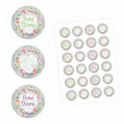 24 Oster Aufkleber Holz Blumen - rund 4 cm Ø - Frohe Ostern Sticker Aufkleber Osterhase Osterei