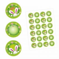 24 Oster Aufkleber grün rund 4 cm Ø - Frohe Ostern Sticker Aufkleber Osterhase Osterei