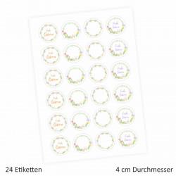 24 Oster Aufkleber Ranken bunt - rund 4 cm Ø - Frohe Ostern Sticker Aufkleber Osterhase Osterei