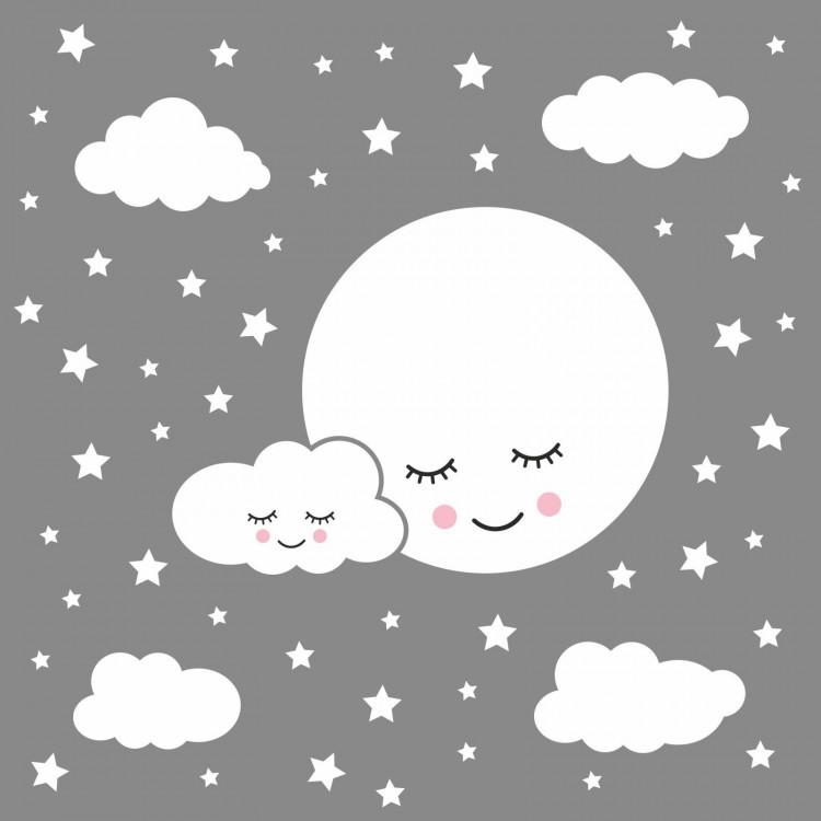 162 Wandtattoo Vollmond mit Wolken und Sternen weiß