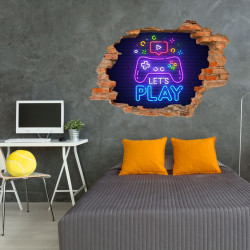 171 Wandtattoo Let´s play - Loch in der Wand - Gaming Zone zocken spielen