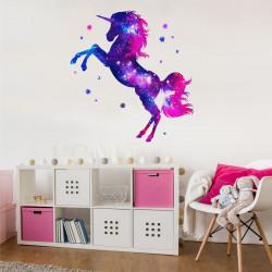 163 Wandtattoo Einhorn pink lila Sterne