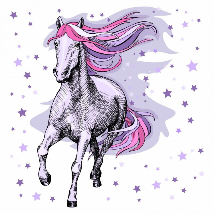 172 Wandtattoo Pferd rosa lila flieder Sterne