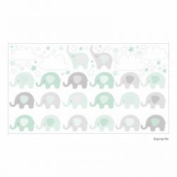 165 Wandtattoo Elefanten mint Wolken Sterne weiß grau