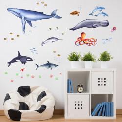 166 Wandtattoo Tiere der Meere - Blauwal, Hai, Delfin, Orca