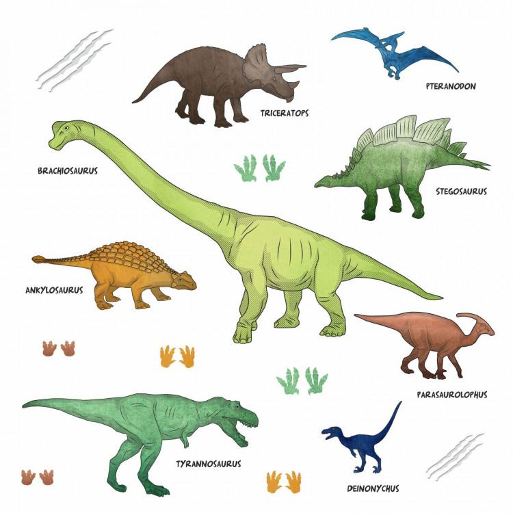 170 Wandtattoo Dinosaurier T-Rex, Triceratops, Stegosaurus