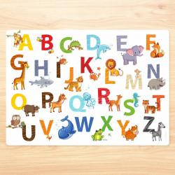 stabiles Vinyl Tischset - Tier ABC Kinder Platzset abwaschbar