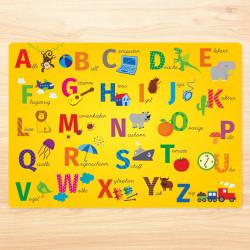 stabiles Vinyl Tischset - ABC gelb Kinder Platzset abwaschbar