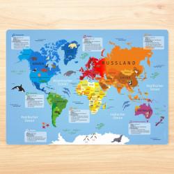 stabiles Vinyl Tischset - Weltkarte