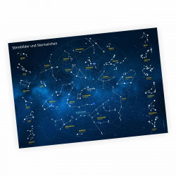 Kinder Lernposter Sternbilder und Sternzeichen - Plakat Bild für das Kinderzimmer Sternenhimmel