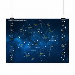 Kinder Lernposter Sternbilder und Sternzeichen - Wanddeko Kinderzimmer Sternenhimmel