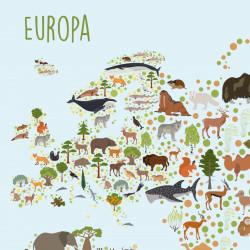 Kinder Lernposter Weltkarte Tiere - Wanddeko Kinderzimmer Sternenhimmel