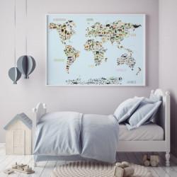 Kinder Lernposter Weltkarte Tiere - Wanddeko Kinderzimmer