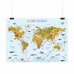 Kinder Lernposter Weltkarte Tiere geografisch - Wanddeko Kinderzimmer