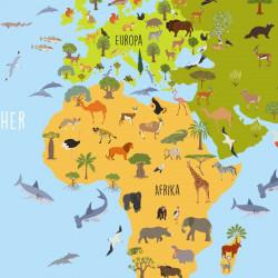 Kinder Lernposter Weltkarte Tiere bunt - Wanddeko Kinderzimmer
