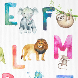 Kinder Lernposter Tier ABC Watercolor