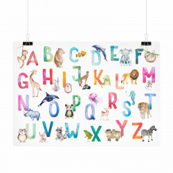 Kinder Lernposter Tier ABC Watercolor - Wanddeko Kinderzimmer