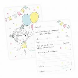 5 Einladungskarten Mädchen mit Luftballons mit GLITZER inkl. 5 transparenten Briefumschlägen Kindergeburtstag Mädchene Einladung