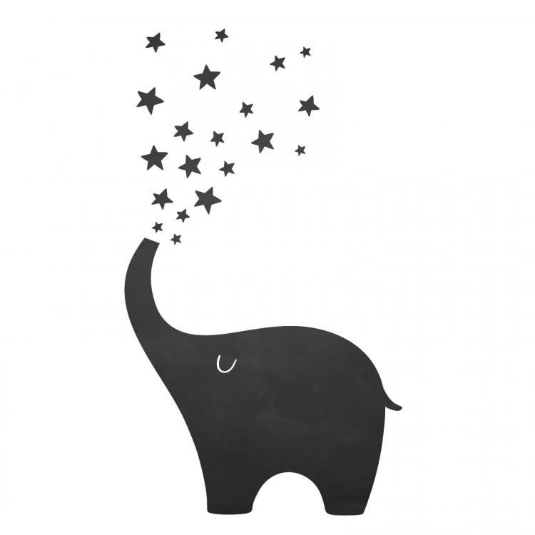 010 Elefant- selbstklebende Tafelfolie/ Kreidefolie inkl. 3 Stück Kreide
