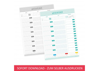 SOFORT DOWNLOAD - A4 Wochenplaner Essensplaner mint - farbig und schwarz weiß