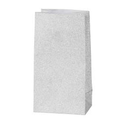 8 Silberne Papiertüten Glitzertüten - 17 x 6 x 9 cm - Geschenktüte Kindergeburtstag Adventskalender DIY