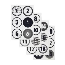 24 Zahlen Aufkleber SCHWARZ/WEIß - rund 4 cm Ø - Adventskalender DIY Kalenderzahlen